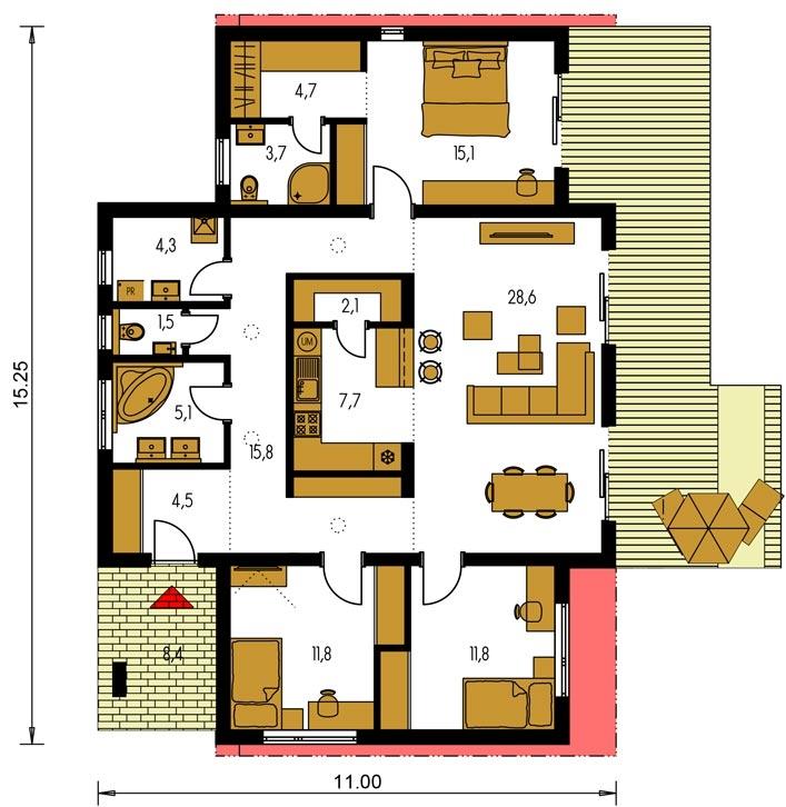 Pôdorys Prízemia - Moderný 4-izbový projekt domu.