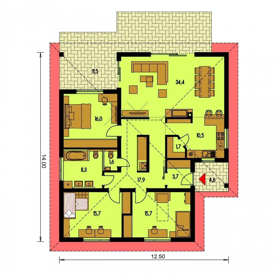 Pôdorys Prízemia - Moderný projekt domu