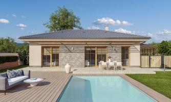 4 izbový bungalov s valbovou strechou a vstupom na terasu zo spálne