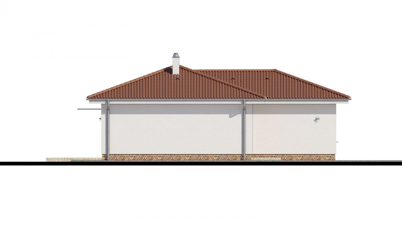 Pohľad 4. - 4- izbový bungalov s valbovou strechou a vstupom na terasu zo spálne.
