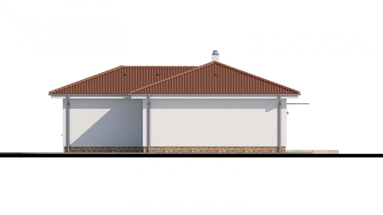 Pohľad 2. - 4- izbový bungalov s valbovou strechou a vstupom na terasu zo spálne.