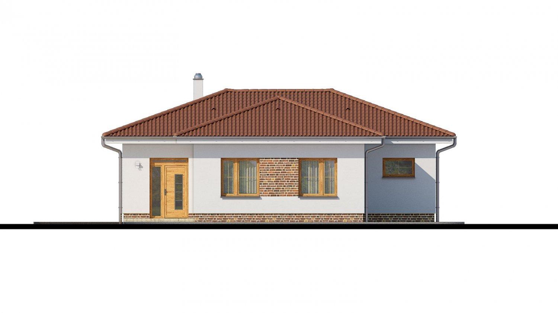 Pohľad 1. - 4- izbový bungalov s valbovou strechou a vstupom na terasu zo spálne.