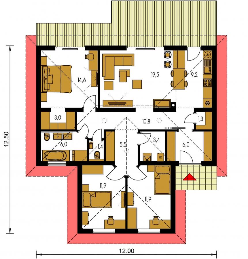Pôdorys Prízemia - 4- izbový bungalov s valbovou strechou a vstupom na terasu zo spálne.