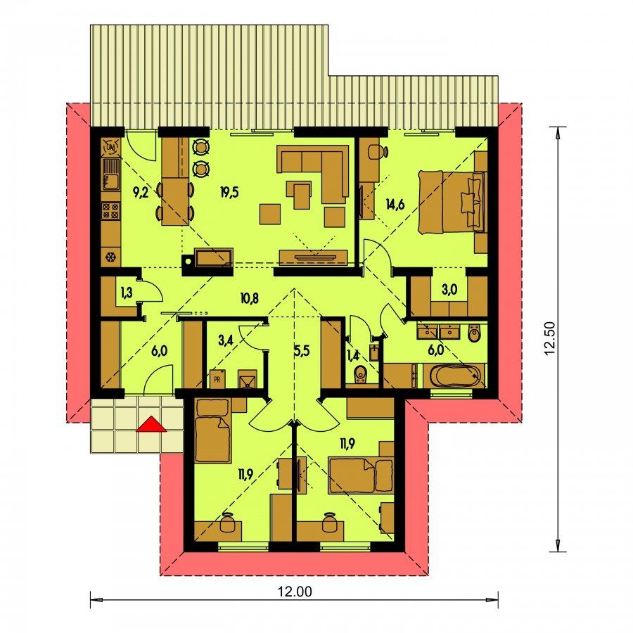Pôdorys Prízemia - Zvláštny tvar domu