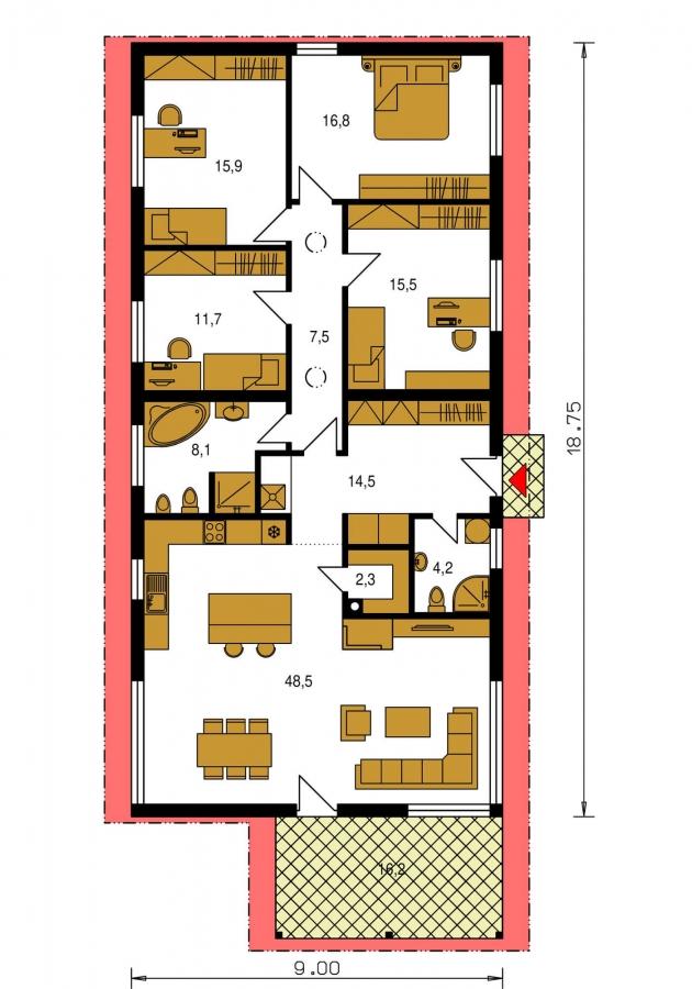 Pôdorys Prízemia - Top projekt 2019 rodinného domu so sedlovou strechou. Spracovaný vo virtuálnej realite so zariaďovaním.