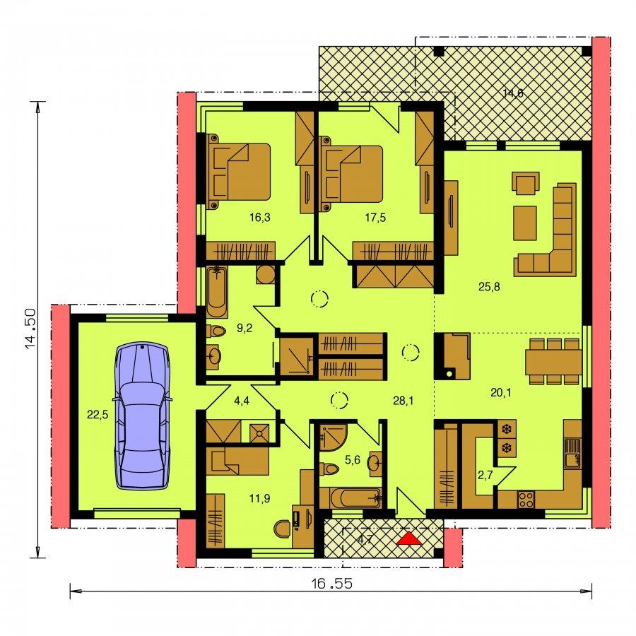 Pôdorys Prízemia - Dom s pultovými strechami