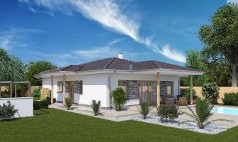 Jednoduchý dom s valbovou strechou. Spracovaný aj v 3d realite.