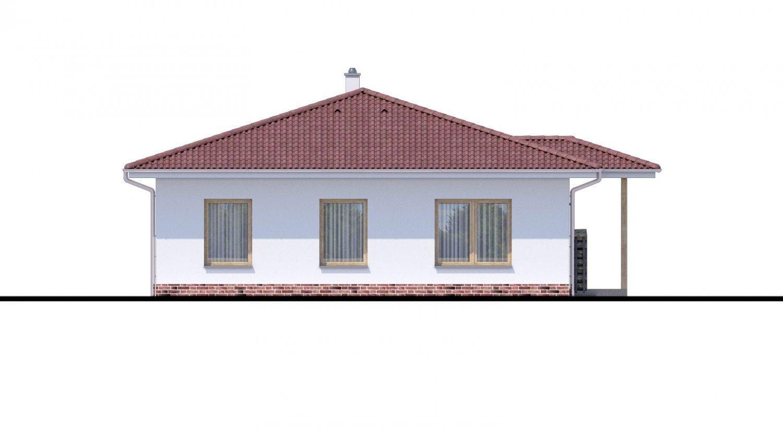 Pohľad 4. - Jednoduchý dom s valbovou strechou. Spracovaný aj v 3d realite.