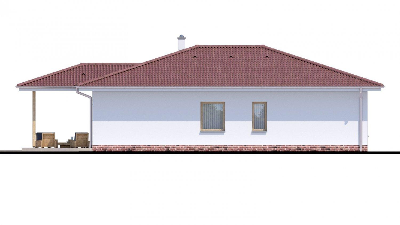 Pohľad 3. - Jednoduchý dom s valbovou strechou. Spracovaný aj v 3d realite.