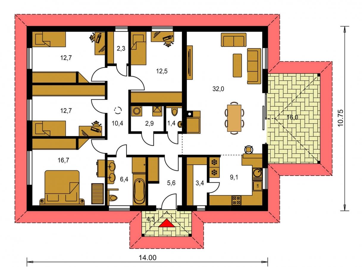 Pôdorys Prízemia - Jednoduchý dom s valbovou strechou. Spracovaný aj v 3d realite.