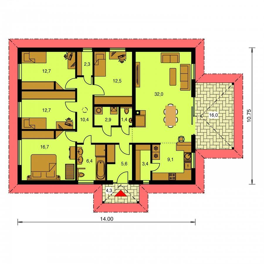 Pôdorys Prízemia - Jednoduchý dom s terasou