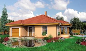 Zaujímavý projekt domu s valbovou strechou a garážou, z ktorej sa dá zrealizovať izba. Má prekrytú terasu na posedenie.