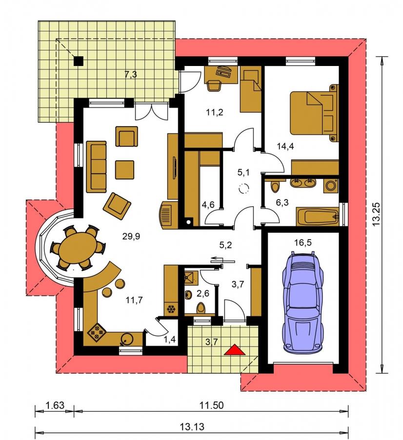 Pôdorys Prízemia - Zaujímavý projekt domu s valbovou strechou a garážou, z ktorej sa dá zrealizovať izba. Má prekrytú terasu na posedenie.