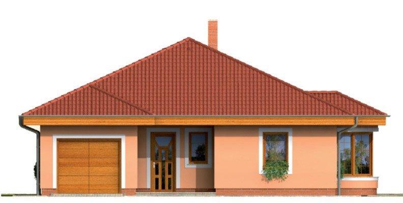 Pohľad 1. - Zaujímavý projekt domu s valbovou strechou a garážou, z ktorej sa dá zrealizovať izba. Má prekrytú terasu na posedenie.