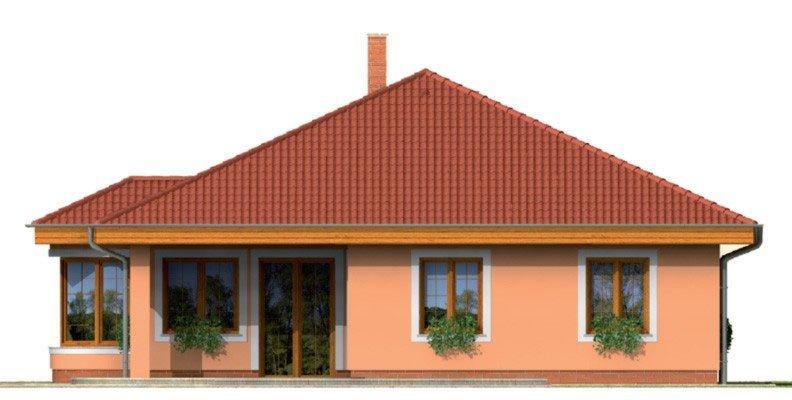 Pohľad 2. - Zaujímavý projekt domu s valbovou strechou a garážou, z ktorej sa dá zrealizovať izba. Má prekrytú terasu na posedenie.
