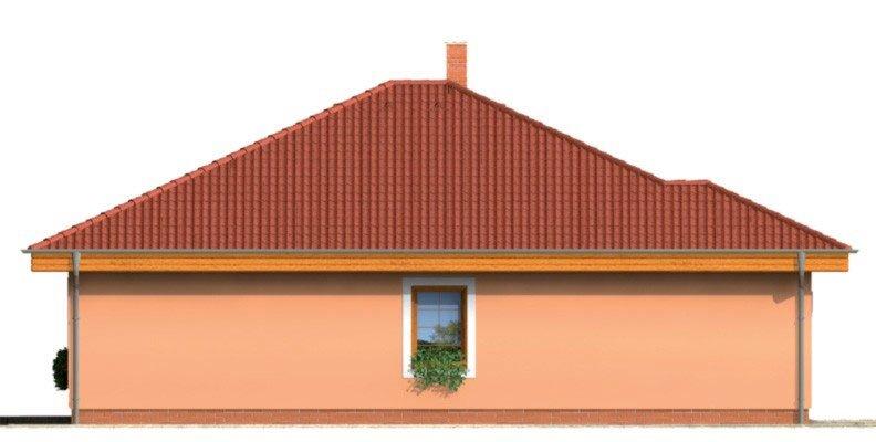 Pohľad 3. - Zaujímavý projekt domu s valbovou strechou a garážou, z ktorej sa dá zrealizovať izba. Má prekrytú terasu na posedenie.