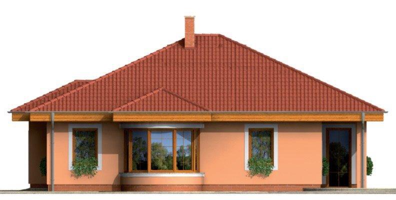 Pohľad 4. - Zaujímavý projekt domu s valbovou strechou a garážou, z ktorej sa dá zrealizovať izba. Má prekrytú terasu na posedenie.