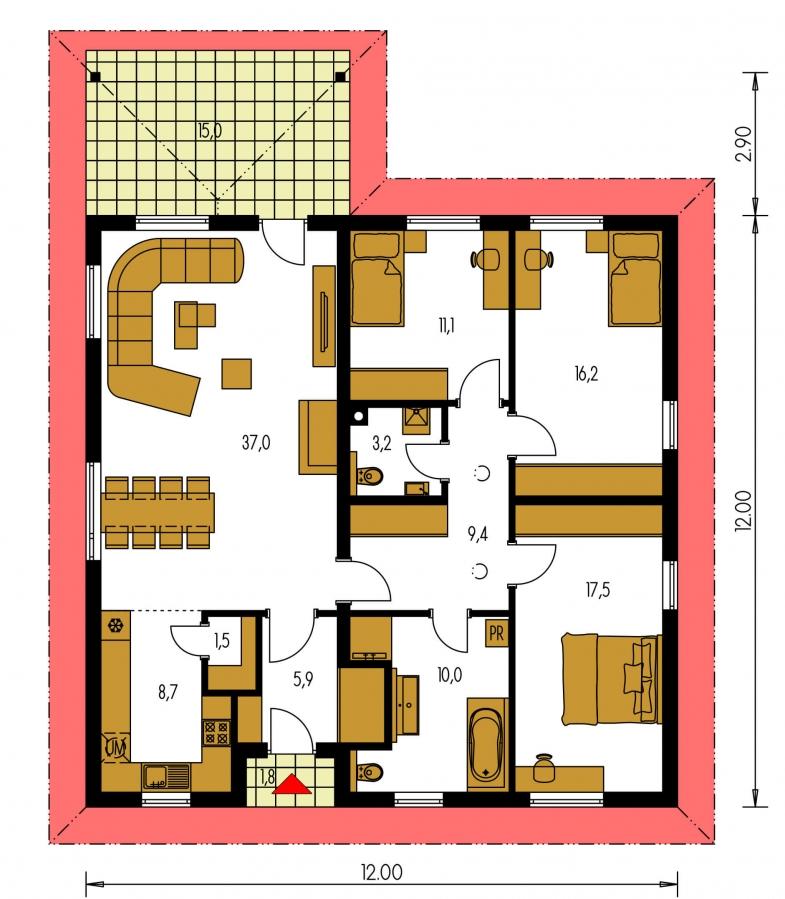 Pôdorys Prízemia - Jednoduchý bungalov s prekrytou terasou.