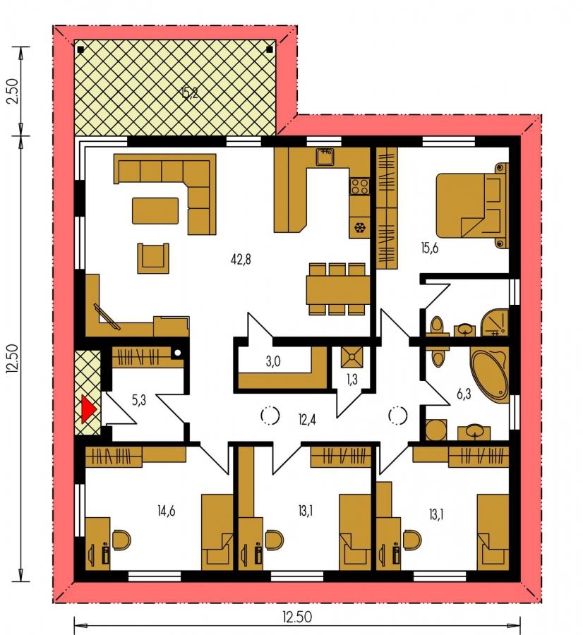 Pôdorys Prízemia - Pekný 5-izbový rodinný dom s terasou.