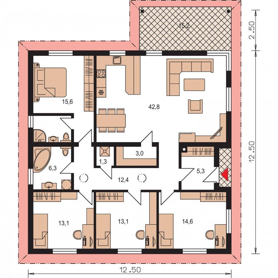 Pôdorys Prízemia - Pekný rodinný dom s terasou
