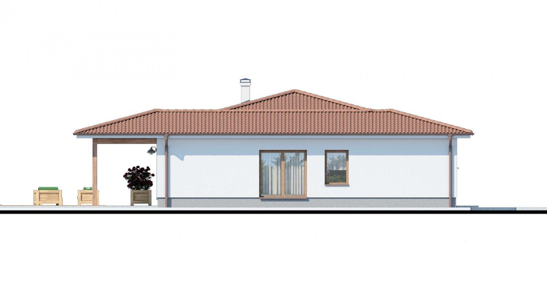 Pohľad 4. - Klasický bungalov s malým sklonom strechy.