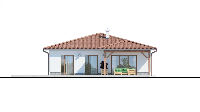 Pohľad 3. - Klasický bungalov s malým sklonom strechy.