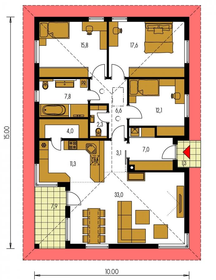 Pôdorys Prízemia - Zaujímavý projekt domu