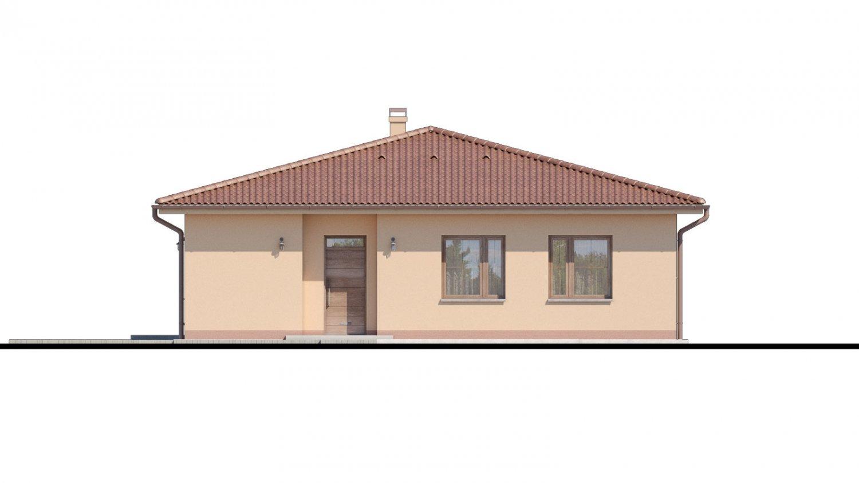 Pohľad 1. - Top projekt domu 2019 s valbovou strechou a prekrytou terasou.