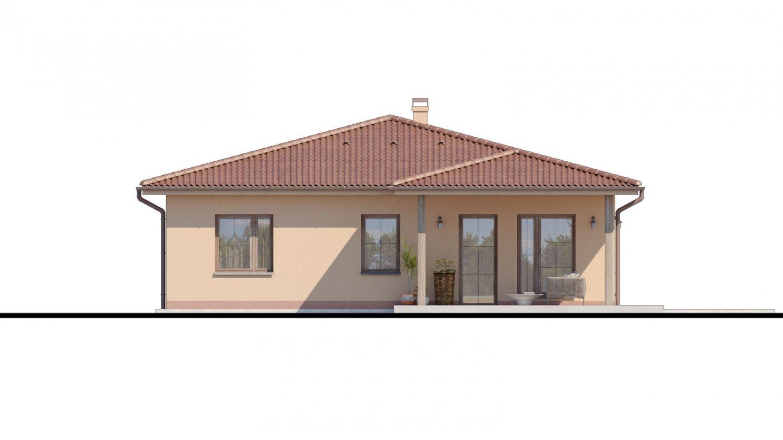 Pohľad 3. - Top projekt domu 2019 s valbovou strechou a prekrytou terasou.