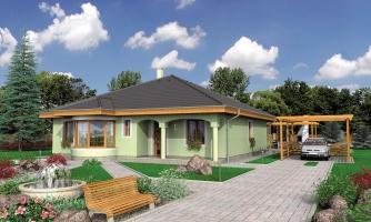 Prízemný projekt domu s krytou terasou a oblúkovým jedálenským kútom