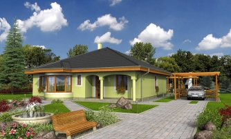 Prízemný projekt domu s krytou terasou a oblúkovým jedálenským kútom.