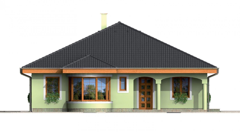 Pohľad 1. - Prízemný projekt domu s krytou terasou a oblúkovým jedálenským kútom.