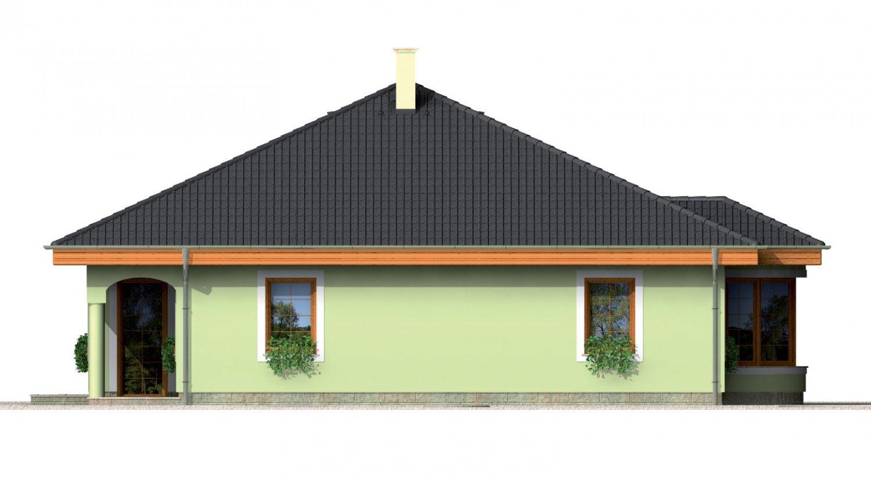 Pohľad 2. - Prízemný projekt domu s krytou terasou a oblúkovým jedálenským kútom.
