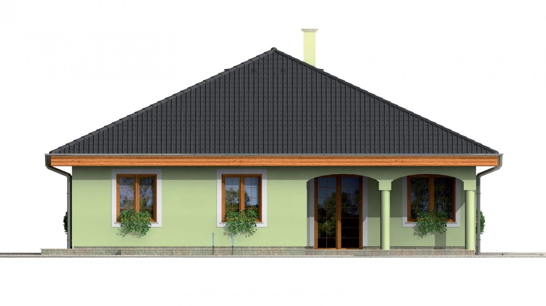 Pohľad 3. - Prízemný projekt domu s krytou terasou a oblúkovým jedálenským kútom.