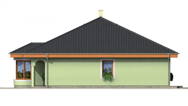 Pohľad 4. - Prízemný projekt domu s krytou terasou a oblúkovým jedálenským kútom.