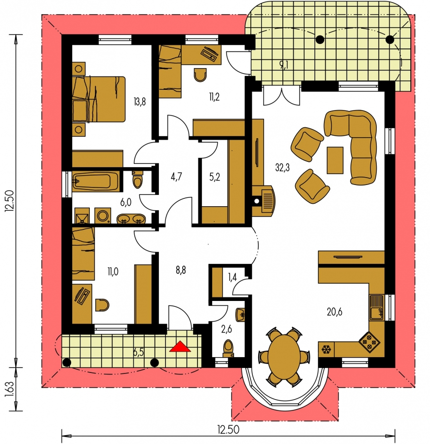 Pôdorys Prízemia - Prízemný projekt domu s krytou terasou a oblúkovým jedálenským kútom.