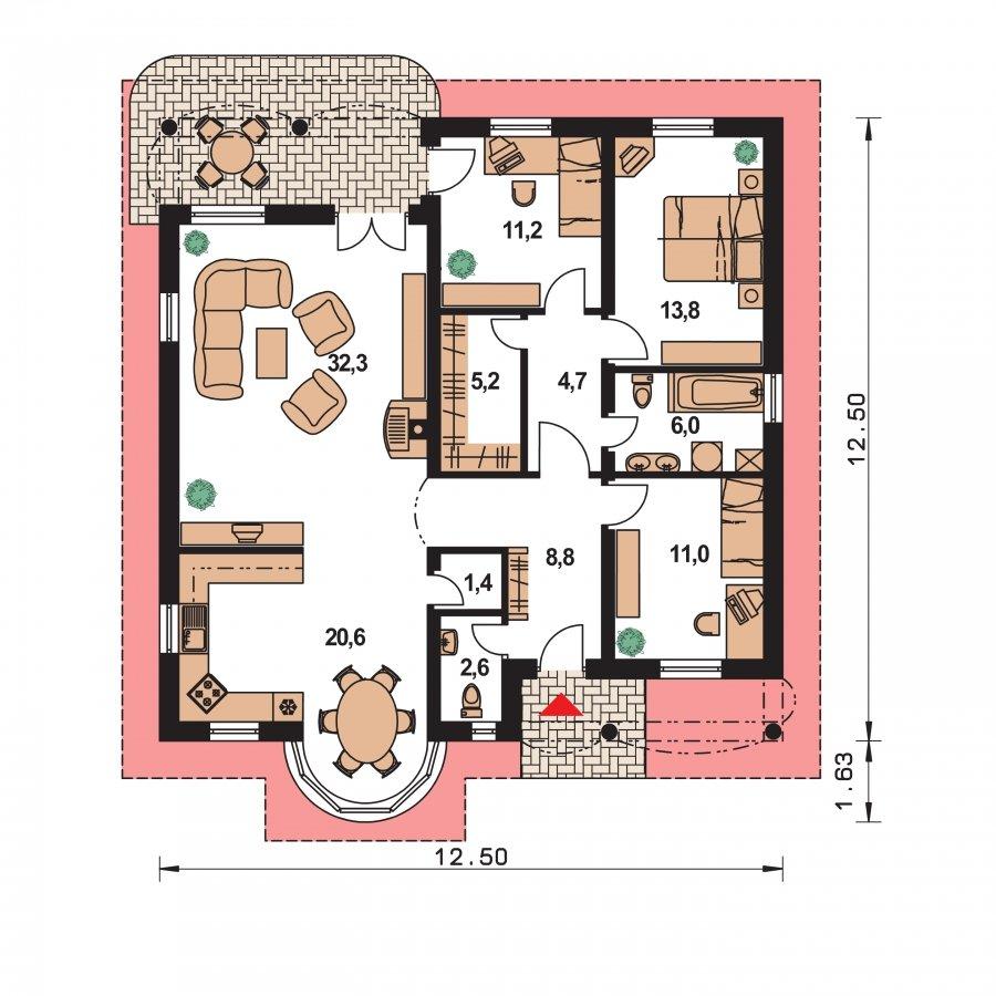 Pôdorys Prízemia - Prízemný projekt domu s krytou terasou a oblúkovým jedálenským kútom