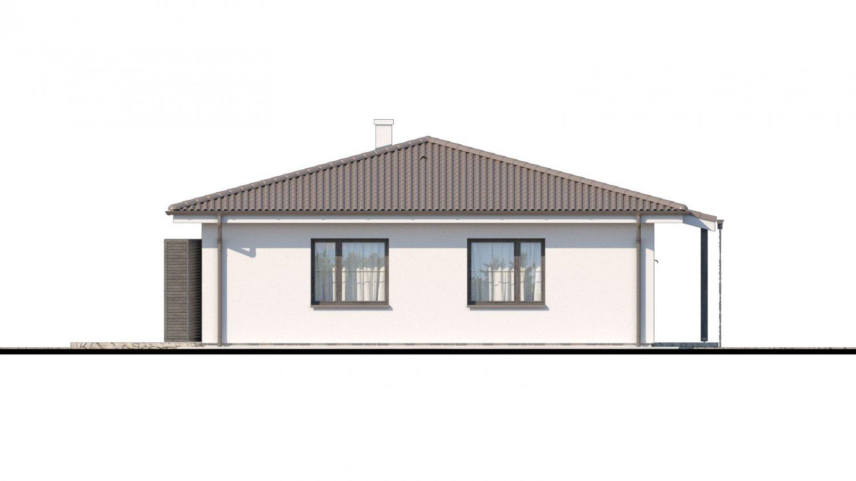 Pohľad 4. - Prízemný veľkopriestorový dom s valbovou strechou. Jednoduchá výstavba.