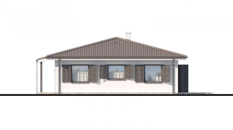 Pohľad 2. - Prízemný veľkopriestorový dom s valbovou strechou. Jednoduchá výstavba.