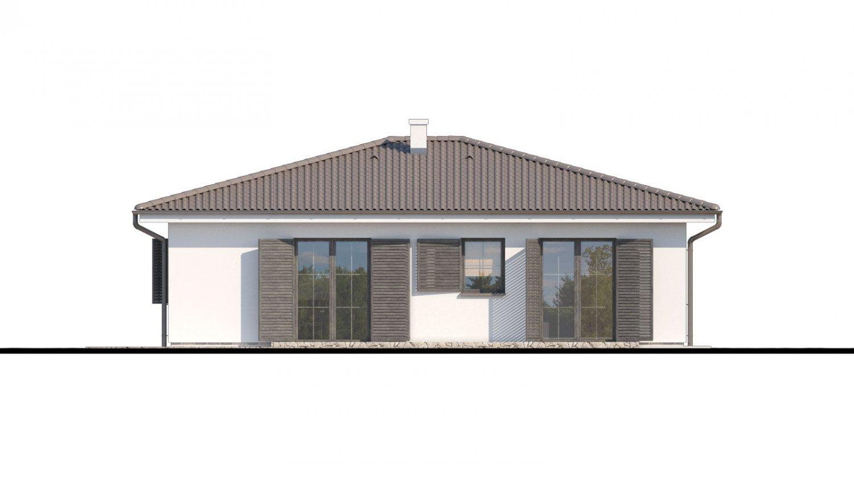 Pohľad 3. - Prízemný veľkopriestorový dom s valbovou strechou. Jednoduchá výstavba.