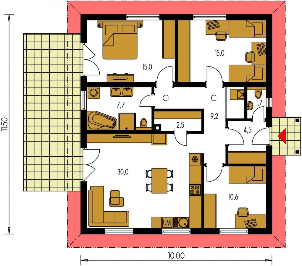 Pôdorys Prízemia - Prízemný veľkopriestorový dom s valbovou strechou. Jednoduchá výstavba.