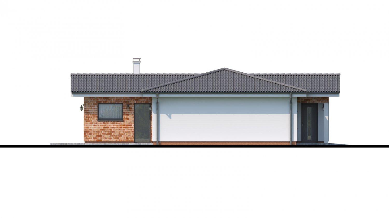 Pohľad 4. - Projekt domu v tvare L s garážou.