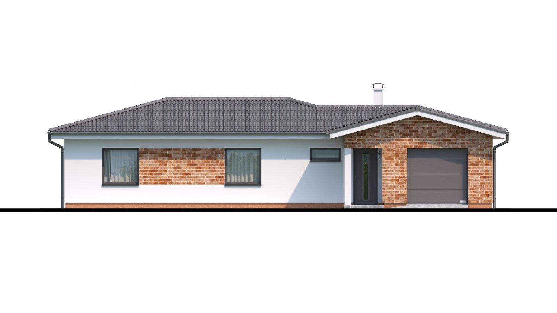 Pohľad 1. - Projekt domu v tvare L s garážou.