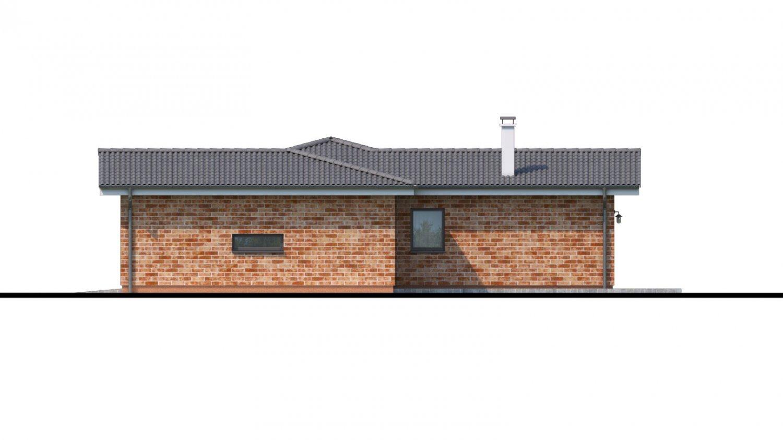 Pohľad 2. - Projekt domu v tvare L s garážou.