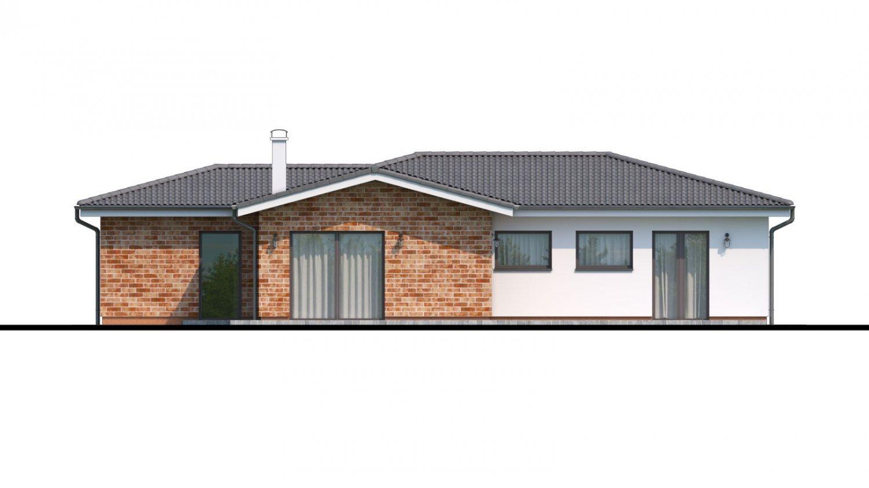 Pohľad 3. - Projekt domu v tvare L s garážou.