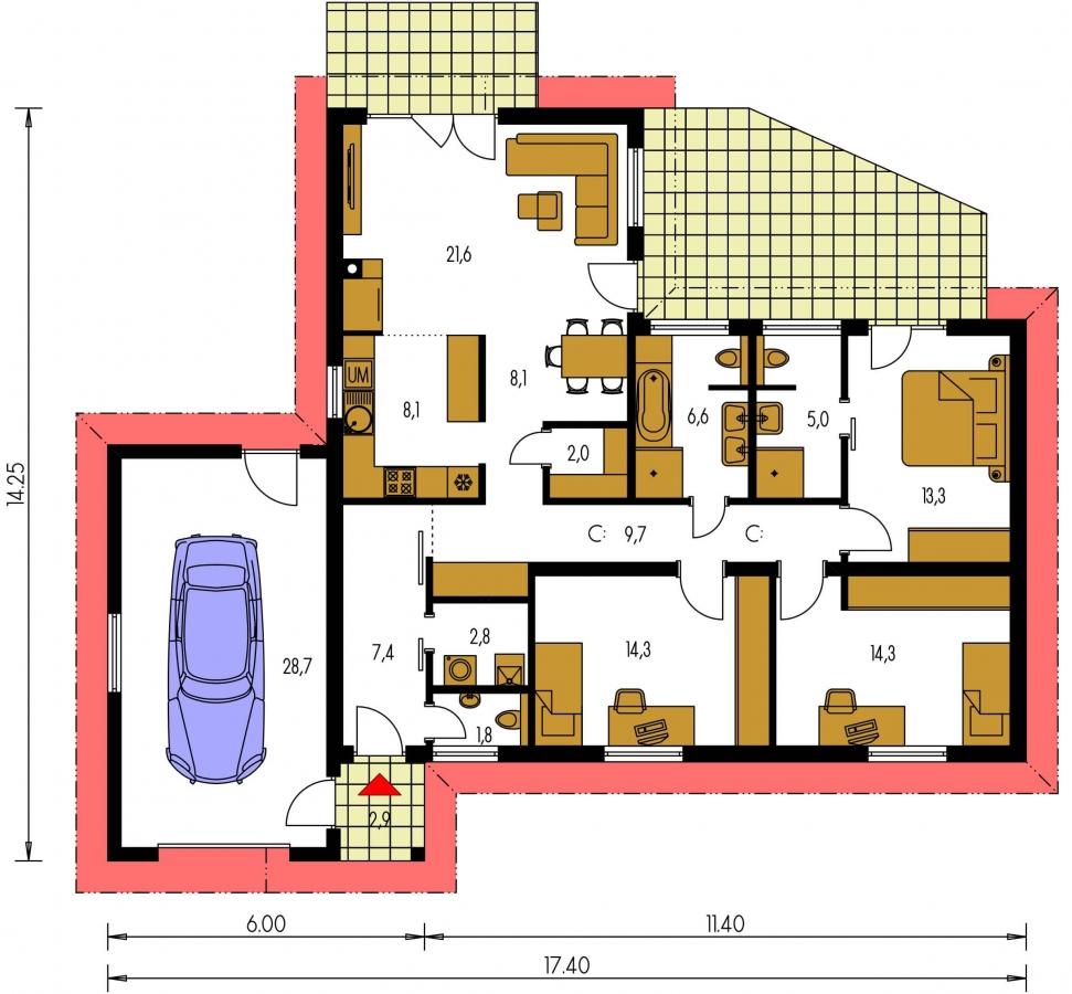 Pôdorys Prízemia - Projekt domu v tvare L s garážou.