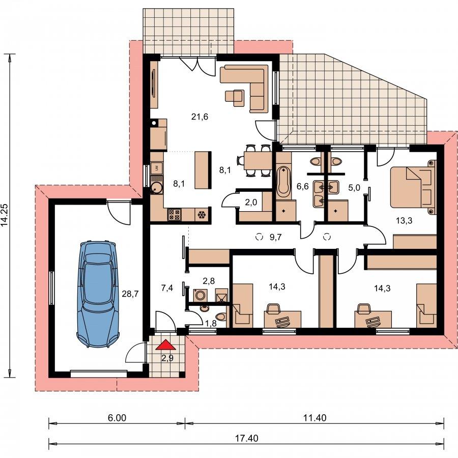 Pôdorys Prízemia - Projekt domu do L s garážou