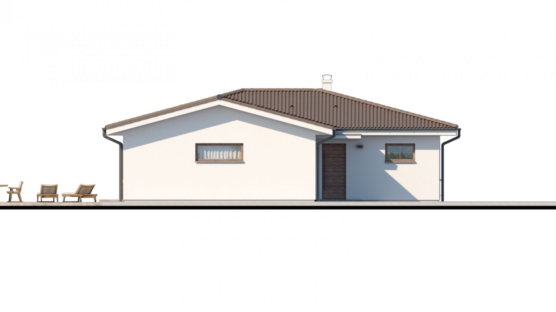 Pohľad 4. - Dom s dvojgarážou a priestrannou terasou.