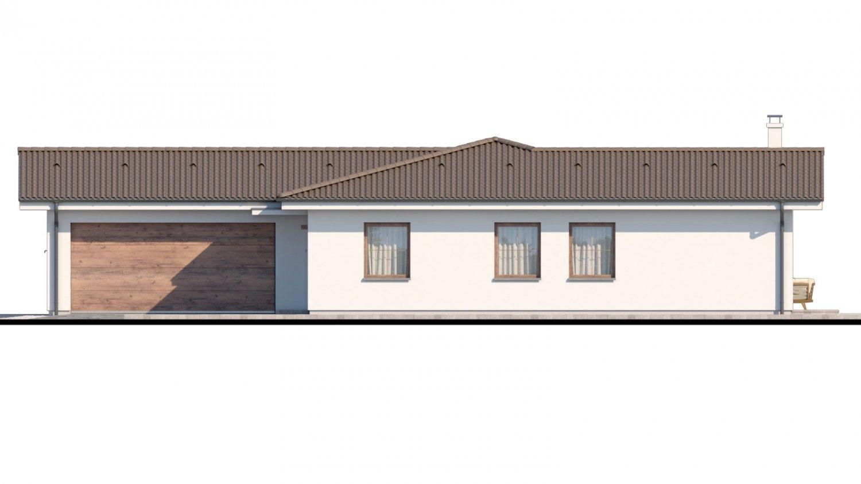 Pohľad 1. - Dom s dvojgarážou a priestrannou terasou.
