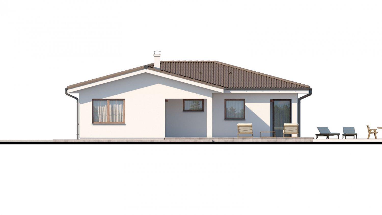 Pohľad 2. - Dom s dvojgarážou a priestrannou terasou.